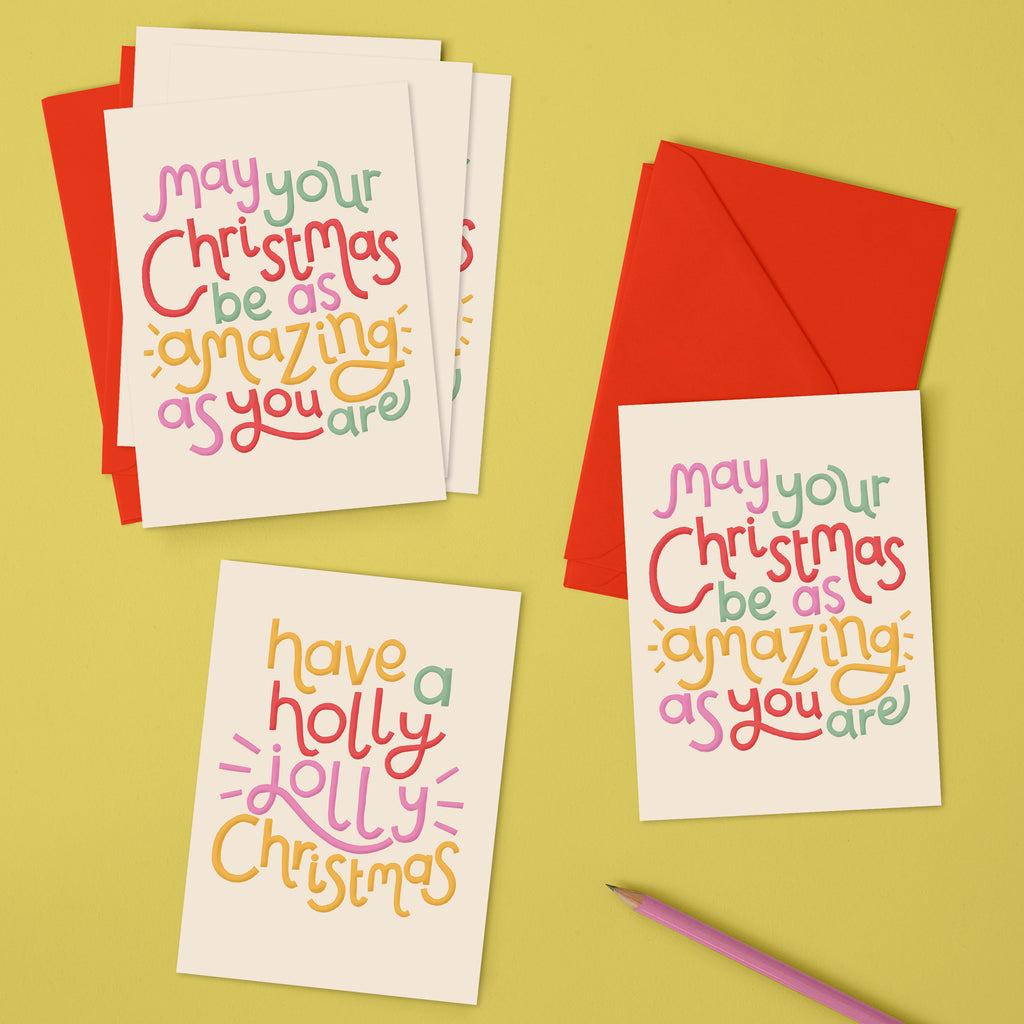 'May your Christmas be as amazing as you are' & 'Have a holly jolly Christmas' Christmas pack (x6)