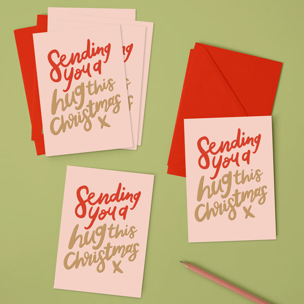 'Sending you a hug this Christmas' Christmas pack (x6)