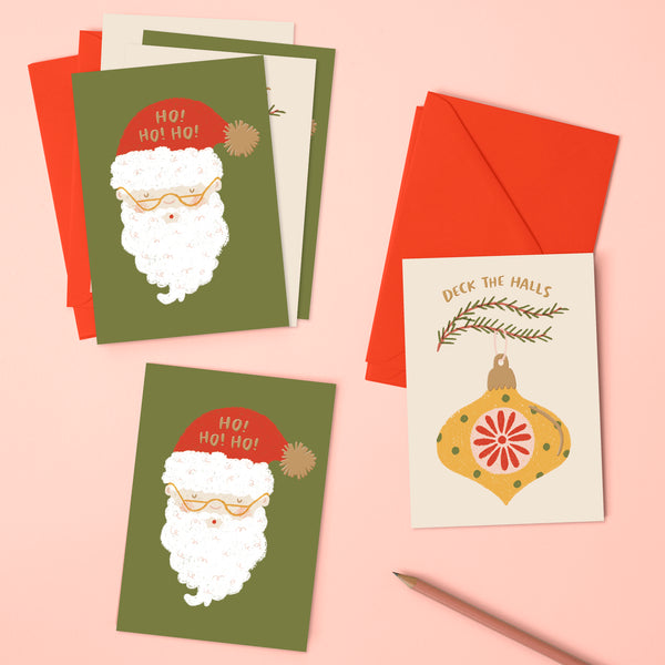 'Deck the halls' & 'Ho! Ho! Ho!' Christmas pack (x6)