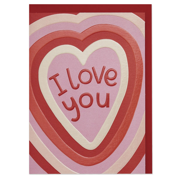 'I love you' colourful hearts luxury Valentine's Day card