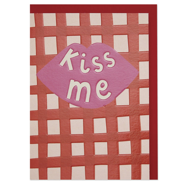 'Kiss Me' red check Valentine's Day card