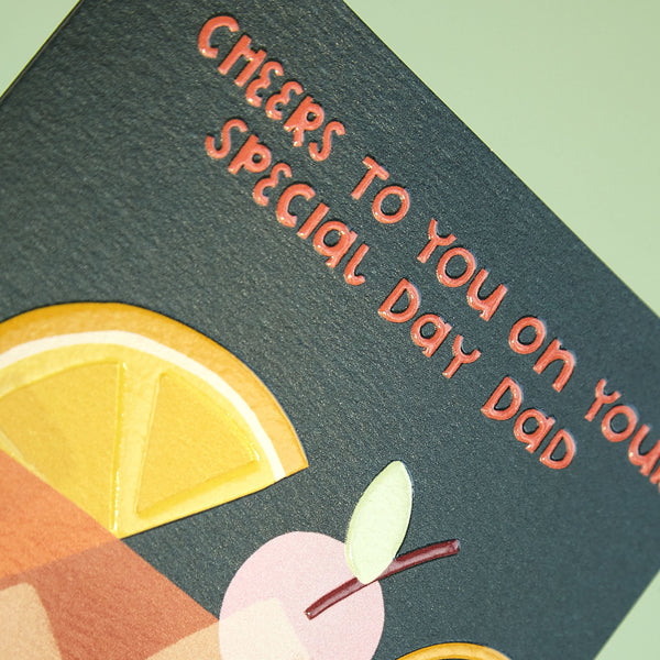'Cheers to you on your special day Dad' graphic whisky card