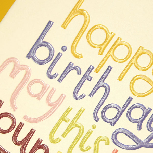 'May this be your best year yet' typographical Birthday card