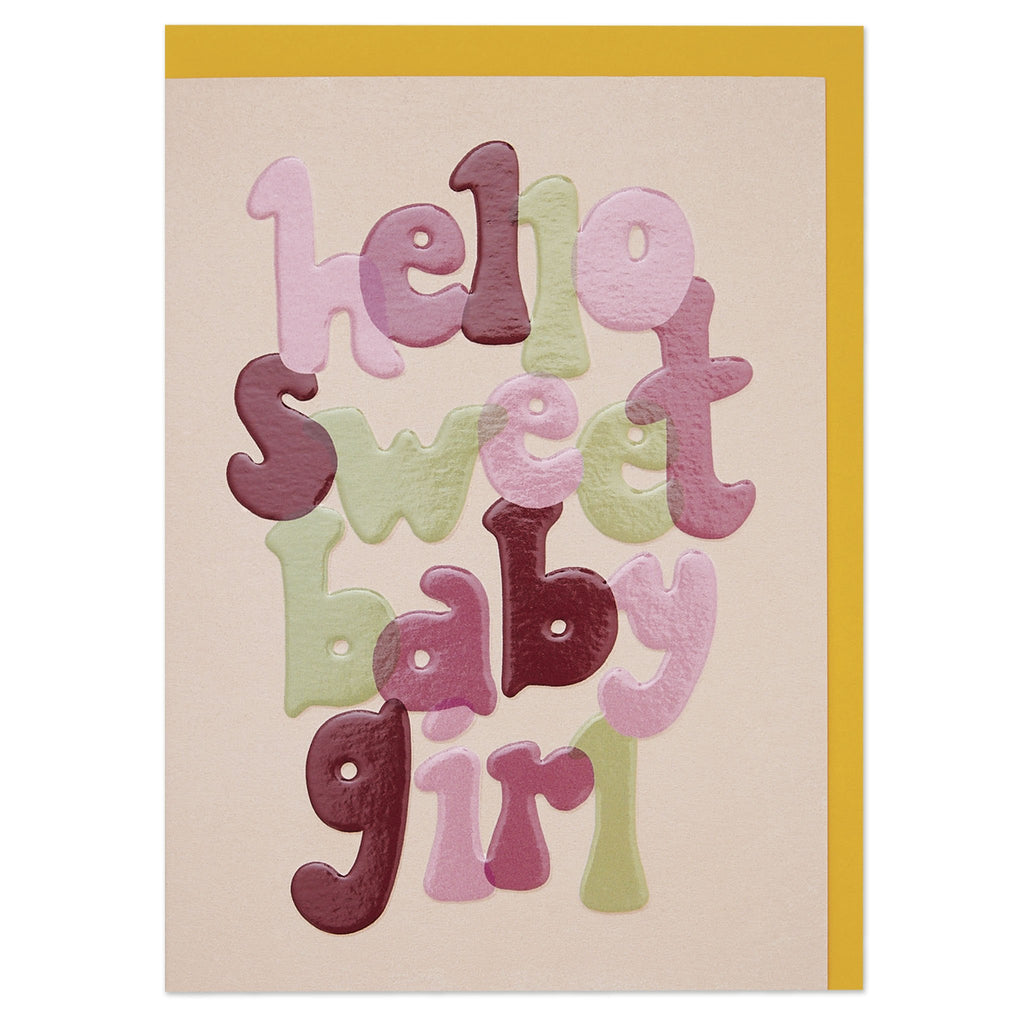 Bold, hand lettered new baby girl card with luxury finish