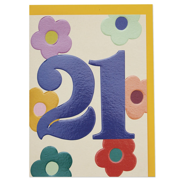 Bold floral age 21 Birthday card