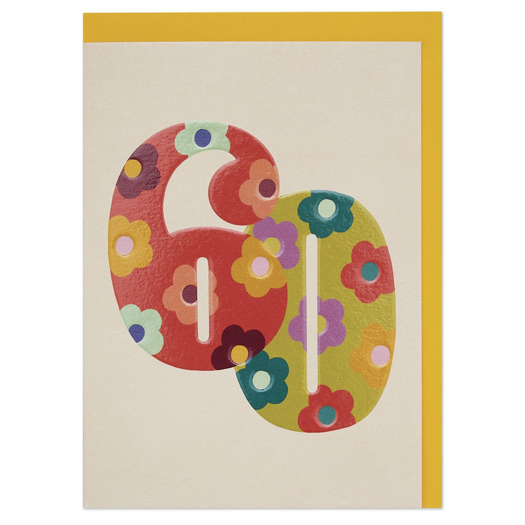 Colourful floral numbers age 60 Birthday card