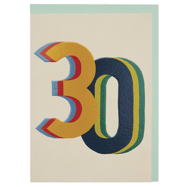 3D colourful age 30 Birthday card