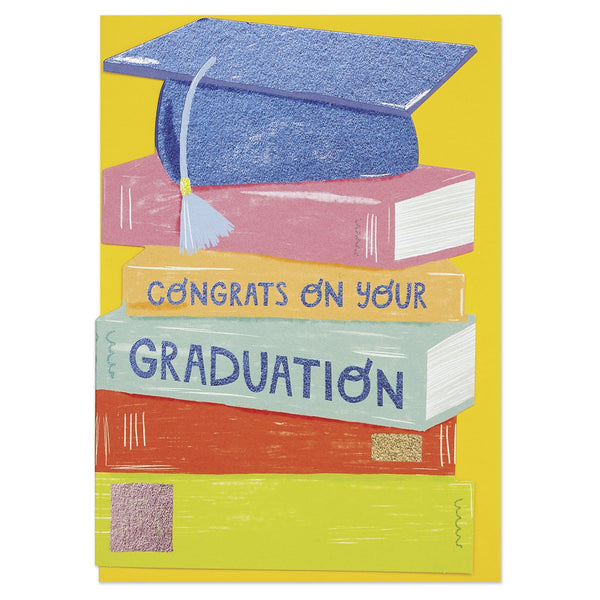 'Congrats on your Graduation' Mortarboard and Books Graduation Card