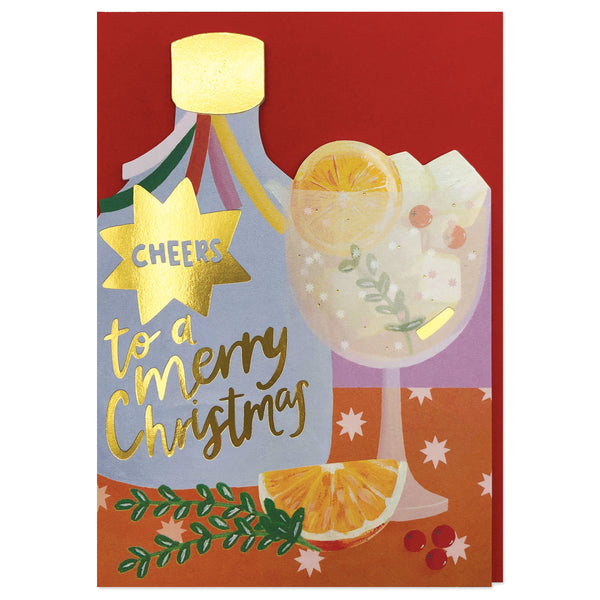 'Cheers to a Merry Christmas' Festive Cocktail Card