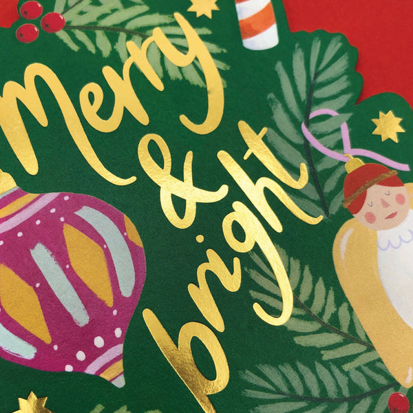 'Merry & Bright' Christmas Tree Decorations Christmas Card