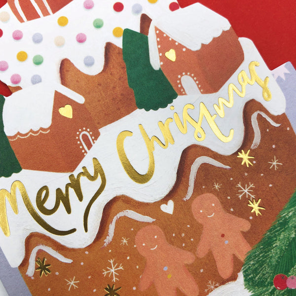 'Merry Christmas' Gingerbread House Cake Christmas Card