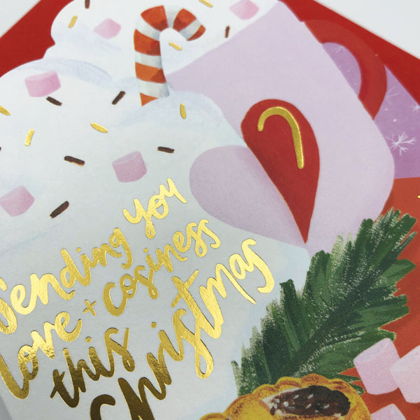'Sending You Love and Cosiness this Christmas' Luxury Hot Chocolate Christmas Card