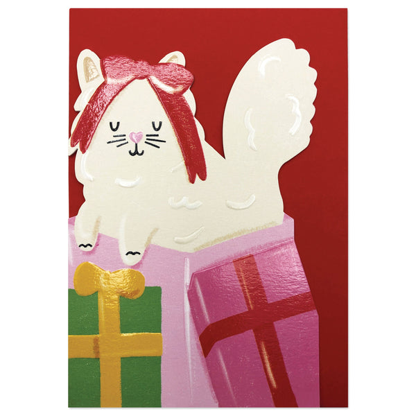 Fluffy White Cat among Christmas Presents Card