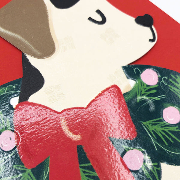 Handsome Dog with Christmas Wreath Collar Christmas Card