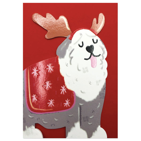 Festive Old English Sheepdog Christmas Card