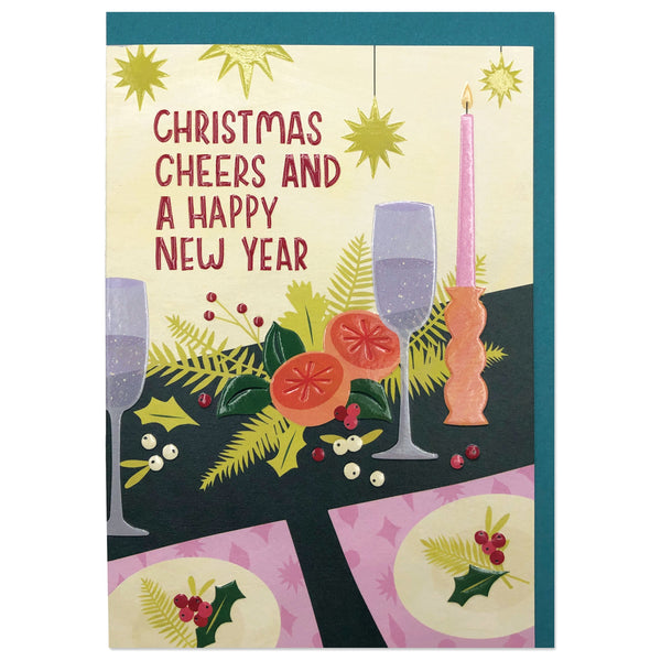'Christmas Cheers and a Happy New Year' Christmas Foliage Tablescape Card