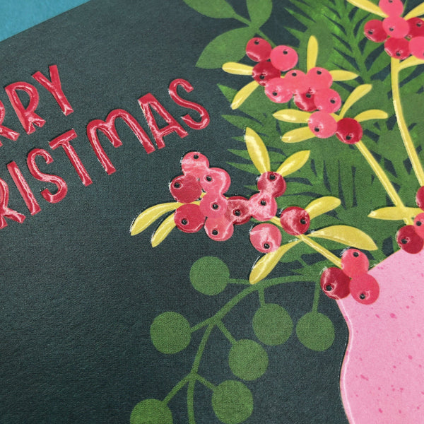 'Merry Christmas' Festive foliage in Vase Christmas Card