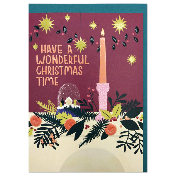 'Have a Wonderful Christmas Time' Christmas Mantle Card