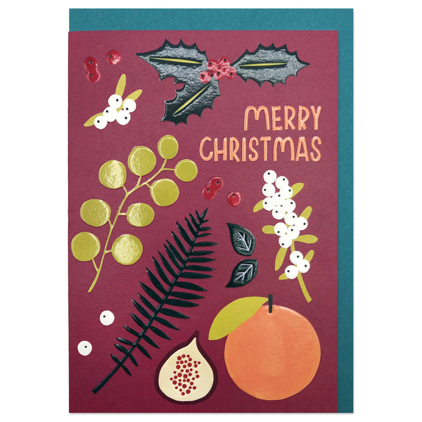 'Merry Christmas' Foliage and Fruit Christmas Card