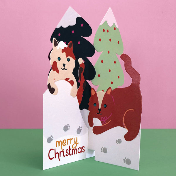 'Merry Christmas' Playful Cats 3D Fold-out Christmas Card