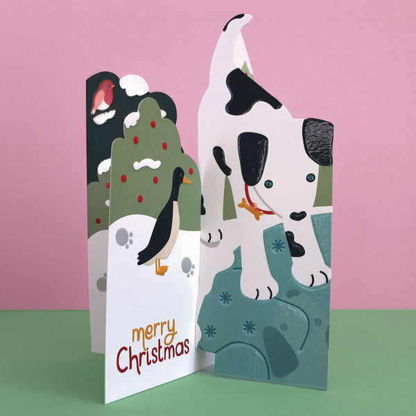 'Merry Christmas' Cute Dog 3D Fold-out Christmas Card