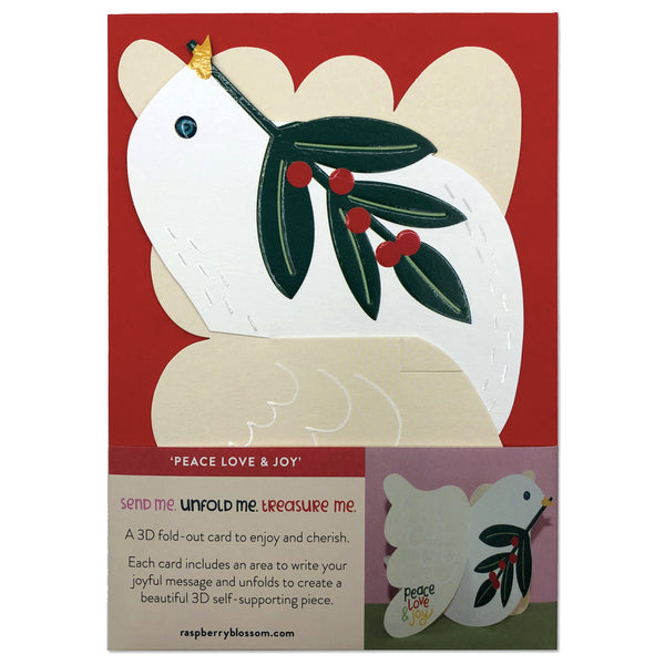 'Peace, Love & Joy' Dove 3D Fold-out Christmas Card