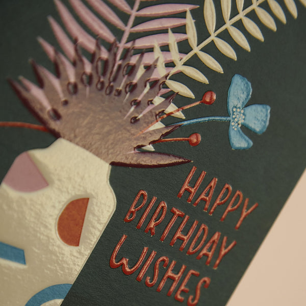 'Happy Birthday Wishes' contemporary floral Birthday card