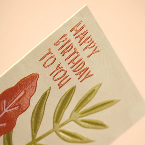 'Happy Birthday to you' botanical illustration card