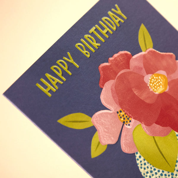 'Happy Birthday' peony in contemporary vase Birthday card