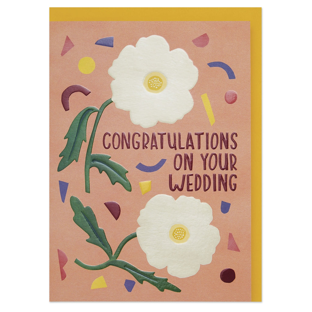 'Congratulations on your wedding' anemones and confetti luxury wedding card