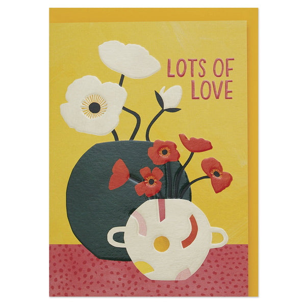 'Lots of love' contemporary poppies and planters luxury card