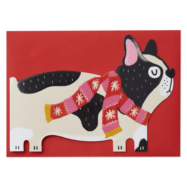 French Bulldog with festive scarf Card