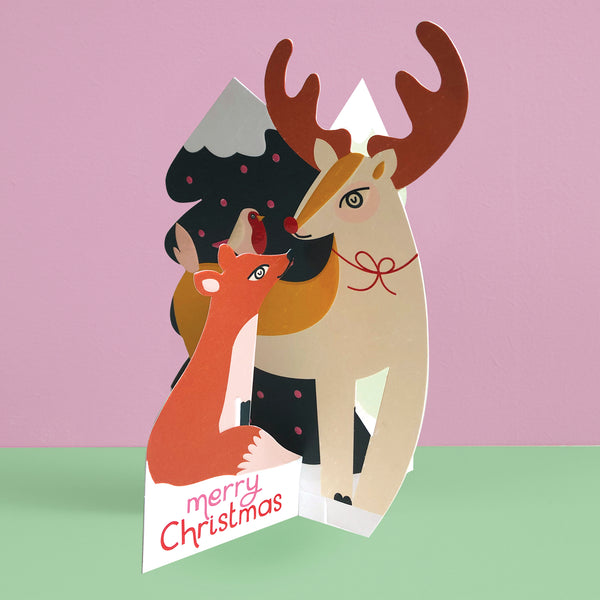 'Merry Christmas' Winter Woodland 3D fold-out Christmas card