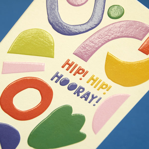 'Hip! Hip! Hooray!' bold and colourful card