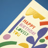 'Happy Birthday lovely you' graphic illustrative Birthday card