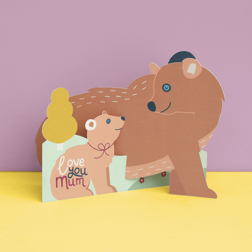 Cute 3D fold-out 'Love You Mum' Bear and Cub Card