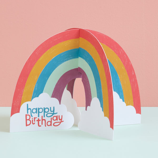 'Happy Birthday' 3D Fold-out Rainbow Birthday Card