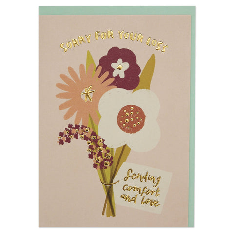 'Sorry for your loss' bouquet sympathy card