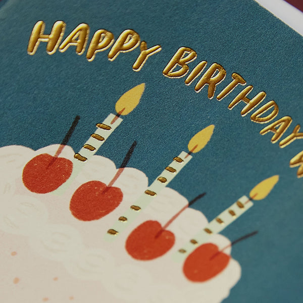 'Happy Birthday wishes' Birthday cake card with gold details