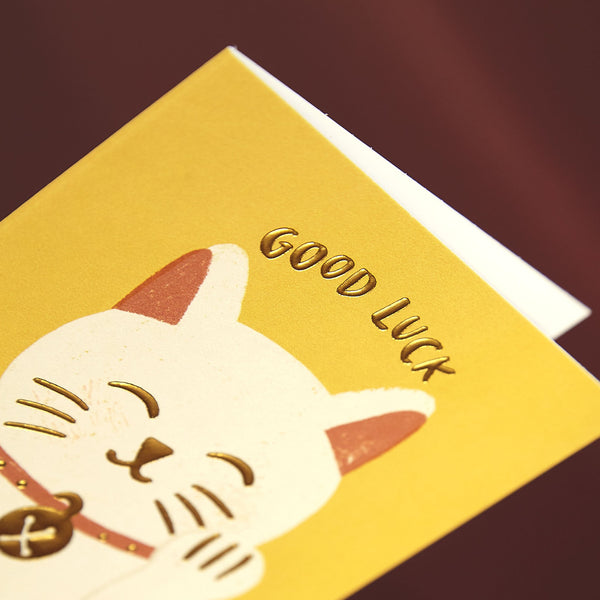 Cute lucky cat 'good luck' card
