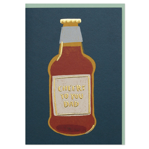 'Cheers to you Dad' luxury beer illustration card