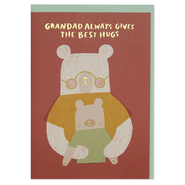 'Grandad always gives the best hugs' cute bear illustration card