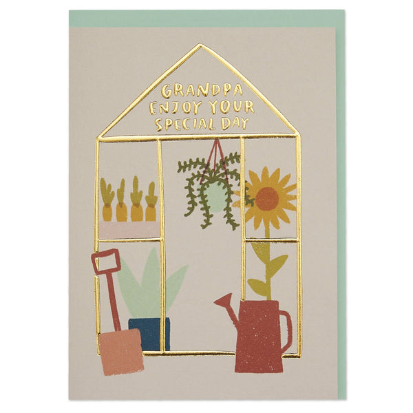 'Grandpa Enjoy Your Special Day' luxury greenhouse illustration card