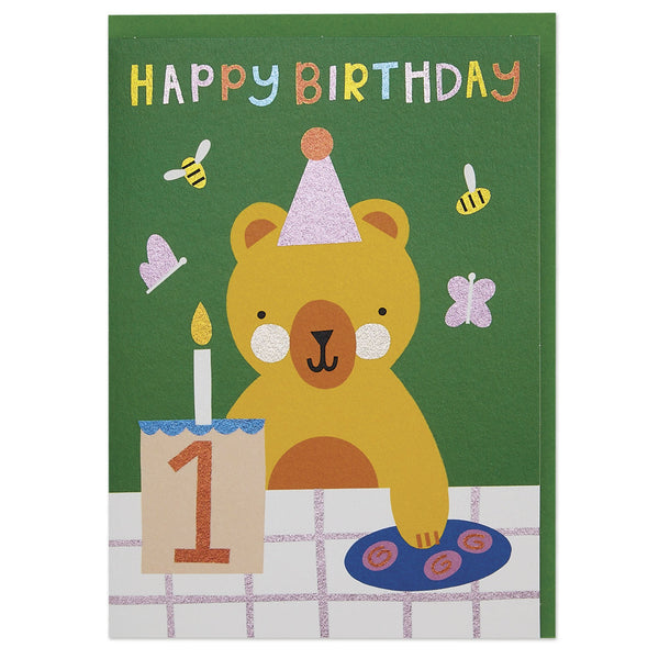 Teddy bear's picnic age 1 children's Birthday card
