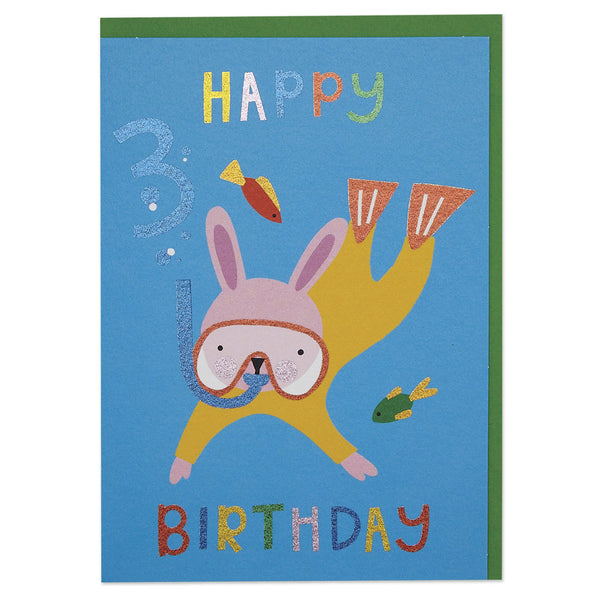 Scuba diving rabbit age 3 children's Birthday card