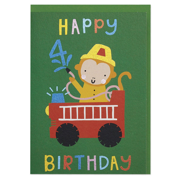 Fire hero age 4 children's Birthday card