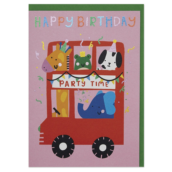 Fun time animal party bus children's Birthday card