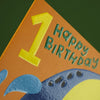 Happy, colourful elephant age one children's Birthday card