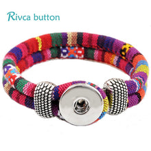 Load image into Gallery viewer, Rivca Jewelry Bohemian Personalized Braided Charm Leather Bracelet For Woman 18mm Snap Button Bracelets Bangles Man P00010