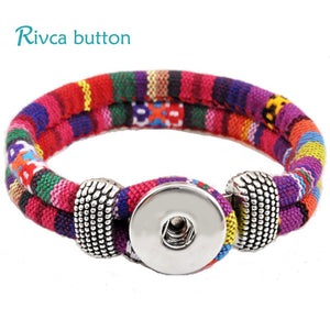 Rivca Jewelry Bohemian Personalized Braided Charm Leather Bracelet For Woman 18mm Snap Button Bracelets Bangles Man P00010